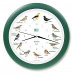 Vogeluhr heimische Singvögel - grün mit Funk