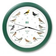 Vogeluhr heimische Singvögel – grün mit Funk