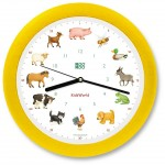 Kinderuhr KidsWorld - heimische Tiere in Gelb